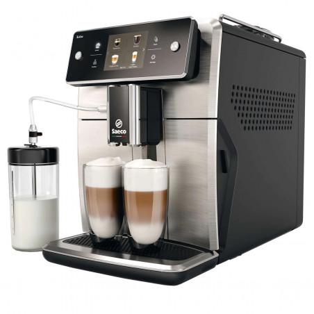 Espressor automat Saeco Xelsis SM7683/00, Ecran tactil cu Coffee Equalizer, Sistem Latteduo, 15 selectii, AquaClean Inox Philips