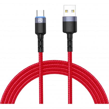 Cablu Tellur Type-C cu LED 3A Nailon 1.2m Rosu Tellur - 1