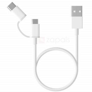 Cablu de date Xiaomi Mi 2-in-1 Micro USB si Type C 30cm White Xiaomi - 1