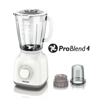 Blender Philips Daily Collection HR2106/00 400W 1.25l Tocator fin 0.12l 2 Viteze Functie impuls White Philips - 1