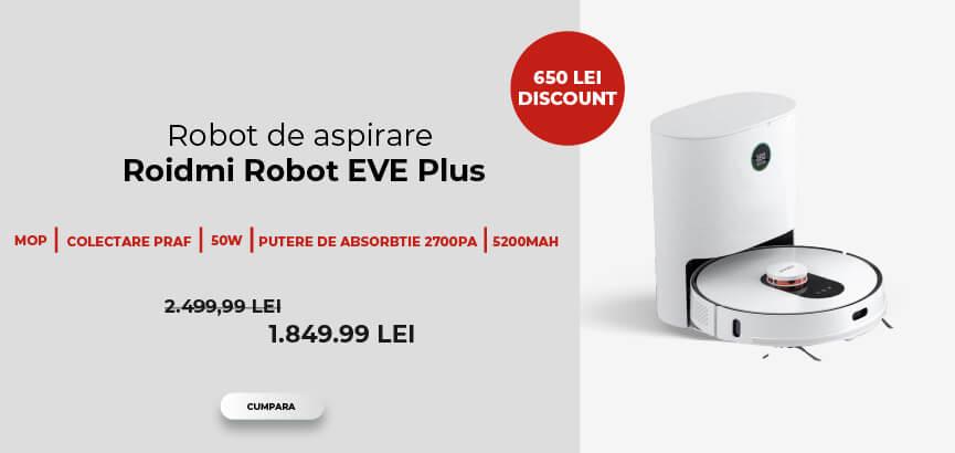 Robot de aspirare Roidmi Robot EVE Plus, Mop, 50W, 5200mAh, Putere de absorbtie 2700Pa, Colectare praf 3l, Alb