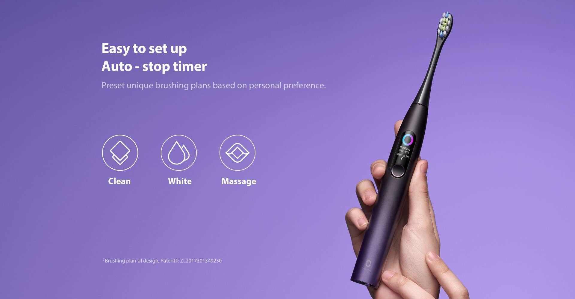 Periuta Electrica Smart Xiaomi Oclean X Pro, Display, Touchscreen, 32 Intensitati, pink 5