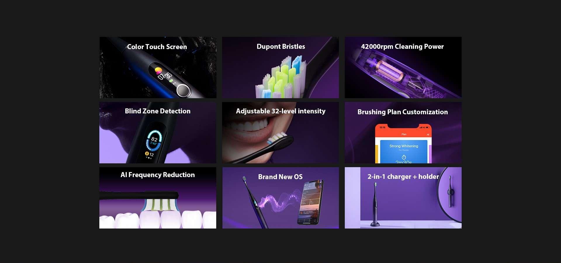 Periuta Electrica Smart Xiaomi Oclean X Pro, Display, Touchscreen, 32 Intensitati, Pink 1