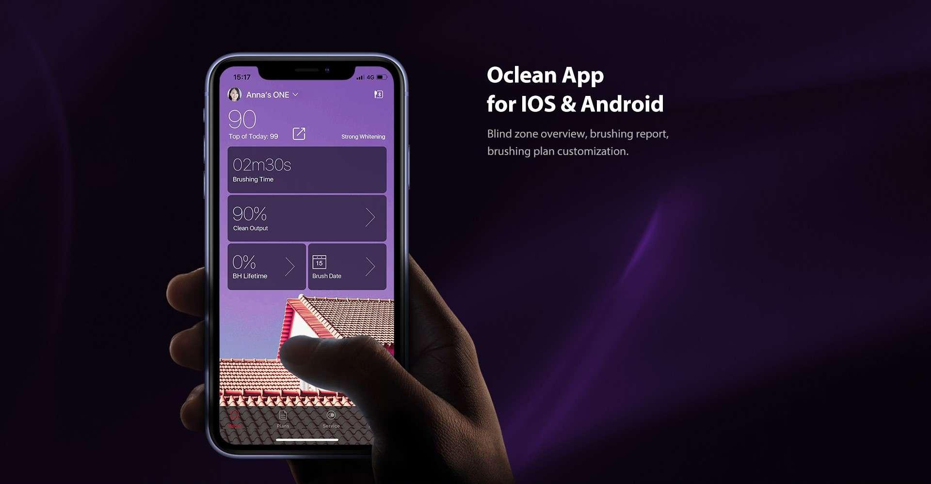 Periuta Electrica Smart Xiaomi Oclean X Pro, Display, Touchscreen, 32 Intensitati, pink2